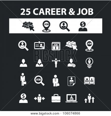 Career, job, human resources icons & signs concept vector set for infographics, website