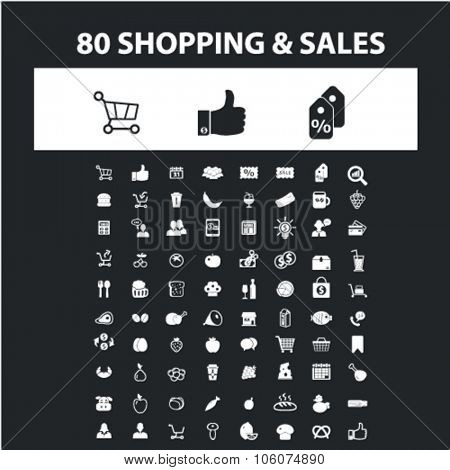 Shopping, sales, retail icons & signs concept vector set for infographics, website