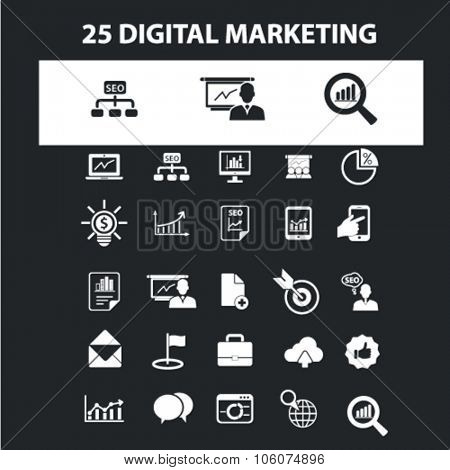 Digital marketing icons & signs concept vector set for infographics, website