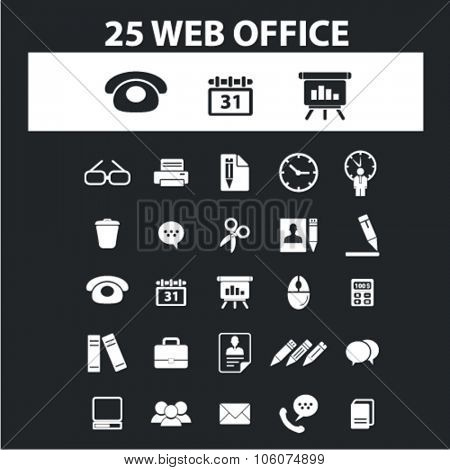 Office, presentation, business icons & signs concept vector set for infographics, website