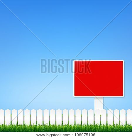 Fence And Grass Border With Sign With Gradient Mesh, Vector Illustration