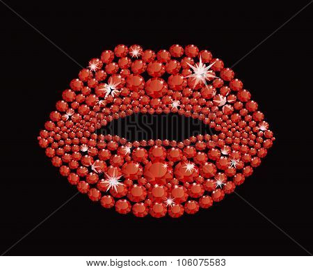 Shining Diamond Luxury Red Lips, Jewel, Crystal, Fashion, Glamor