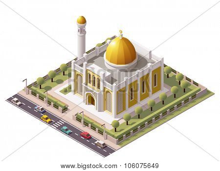 Vector isometric mosque building icon