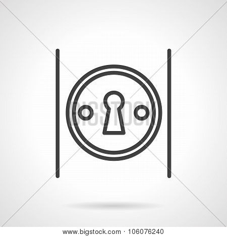 Keyhole on door simple line vector icon