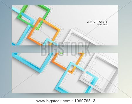 Creative colorful abstract design decorated website header or banner set.