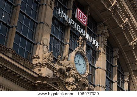 Hauptbahnhof Main Train Station Buiding In Frankfurt
