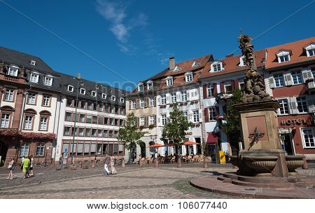Famous Marktplatz Or Market Square In Heildeberg Germany