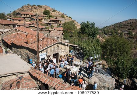 Tourists At Fikardou Traditional Old Village Cyprus