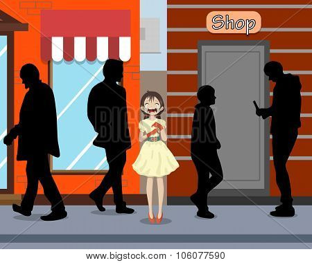 The girl was crying near the shop because it has lagged behind in the city from parents and lost in