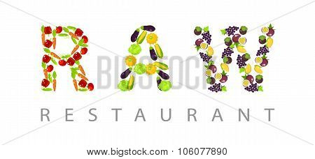 Raw Word Composed Of Fruits And Vegetables.