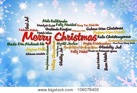 Word cloud Merry Christmas on blue background with snowflakes and stars on many languages