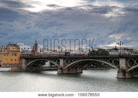 Seville, Spain, October 19, 2015 : The Puente De Isabel Ii Or Puente De Triana (triana Bridge) Conne