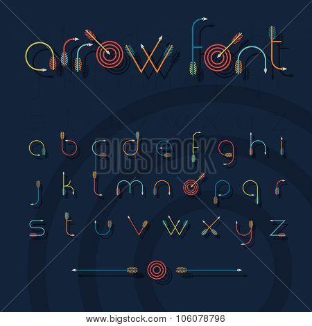 Vector font alphabet shaped like archery arrows