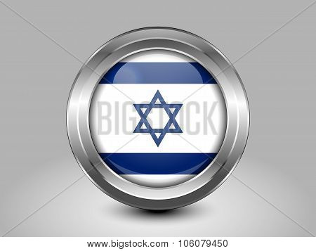 Flag Of Israel. Metal Round Icon
