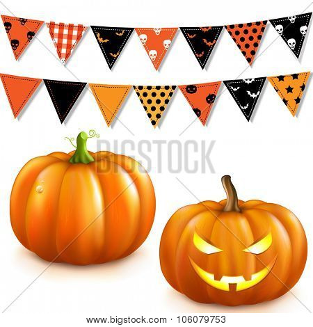 Halloween Set With Gradient Mesh, Vector Illustration