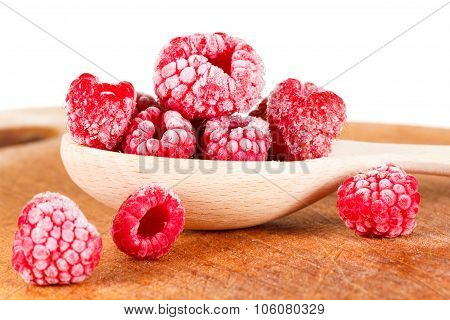 Frozen Raspberries. Isolated On White Background