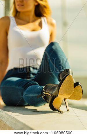 Woman In Denim Pants Heels Shoes Outdoor