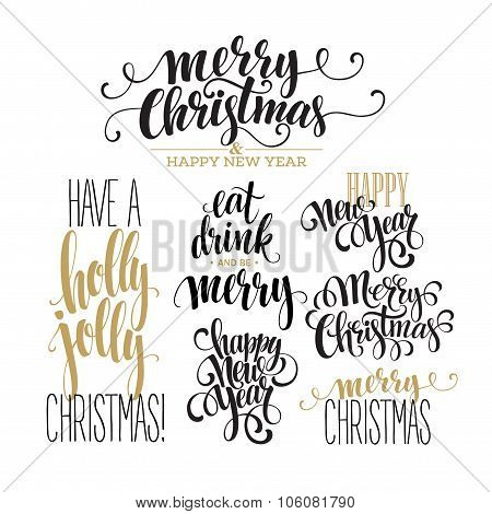 Merry Christmas Lettering Design Set. Vector illustration