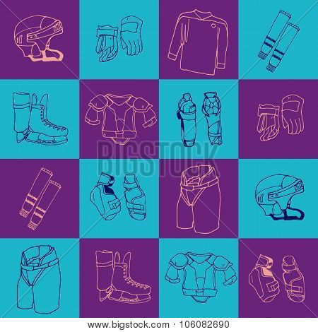 seamless pattern  ice-hockey equipment sport icon vector handdrawn illustration collection bright co