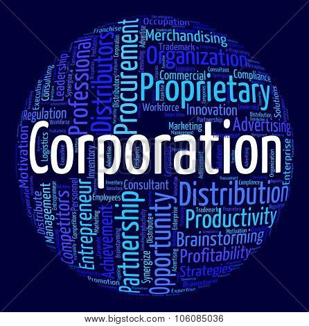 Corporation Word Represents Businessmen Wordcloud And Wordclouds