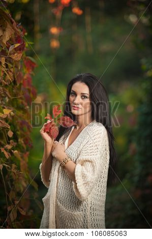 Beautiful woman in white posing in autumnal park. Young brunette woman spending time in autumn