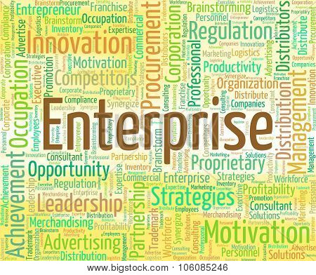 Enterprise Word Shows Businesses Venture And Industry