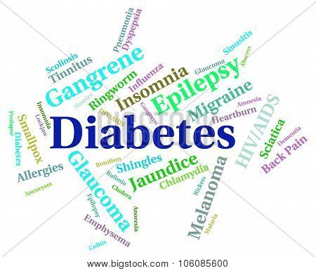 Diabetes Word Represents Ill Hypoglycemia And Disorders
