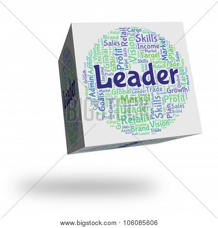 Leader Word Shows Authority Wordcloud And Text