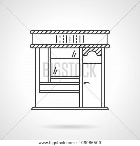 Bakery front flat line vector icon