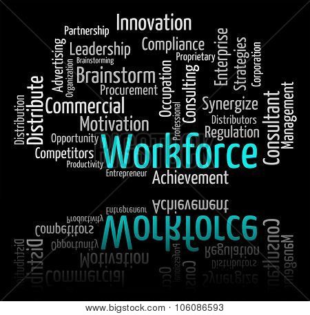 Workforce Word Shows Employees Personnel And Wordcloud