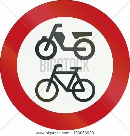 A Dutch Prohibition Sign - No Mopeds Or Bicycles