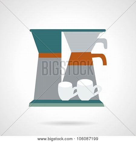 Office coffee maker flat vector icon