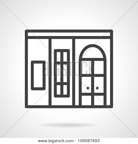 Shop window simple line vector icon