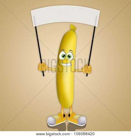 Funny Banana With Signboard