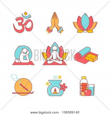 Yoga thin line icons set