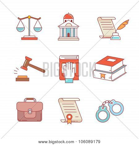 Legal, law, lawyer and court thin line icons set