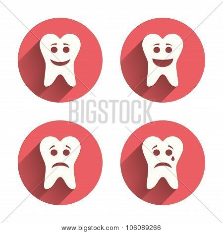 Tooth happy, sad and crying face icons.