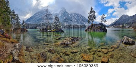 Misty Spring Morning On The Hintersee Lake In Austrian Alps.