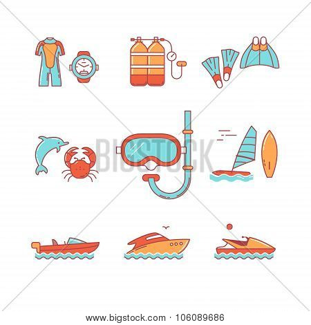 Diving and freediving equipment, boats