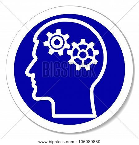 Vector icon - thinking, intelligence, problems, gears in head.
