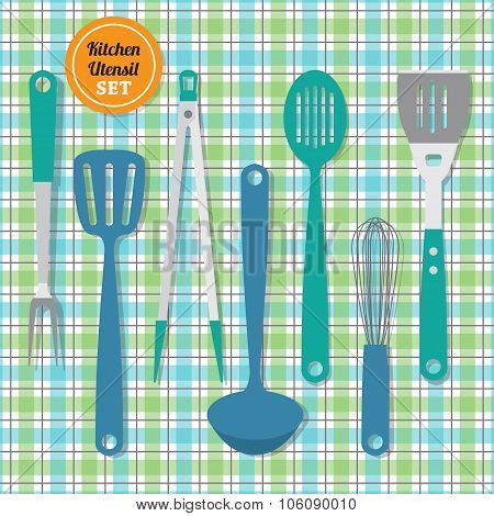 Kitchen utensils set icons on blue and green plaid pattern background