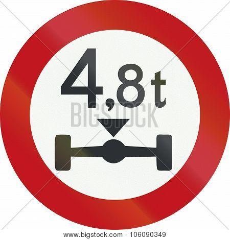 A Dutch Prohibition Sign - Axle Load Limit