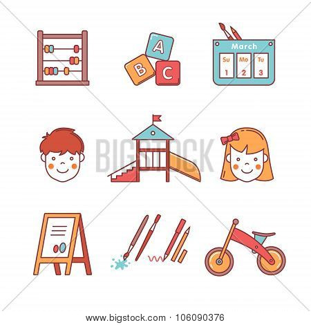 Kindergarten education equipment. Girl and boy
