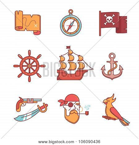 Pirate icons thin line set