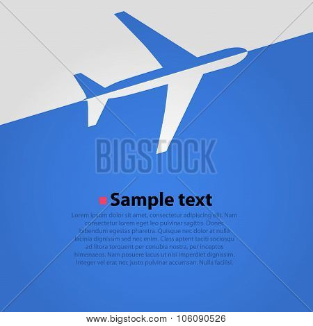 Airplane flight blue background