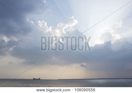 Sky Reflection Sea Beach Blue Sunset Light Sundown Concept