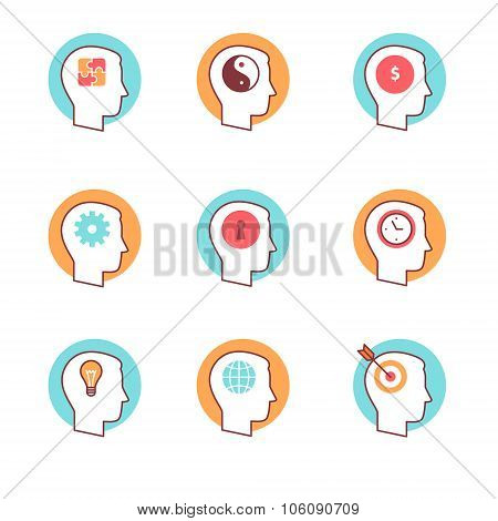 Human mind icons thin line set