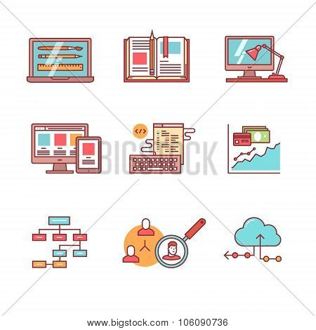 Web and app development, programming icons set