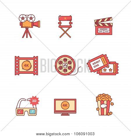 Movie, film and video icons thin line set
