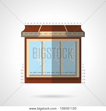 Flat color store window vector icon